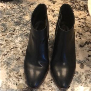 J Crew black leather ankle booties